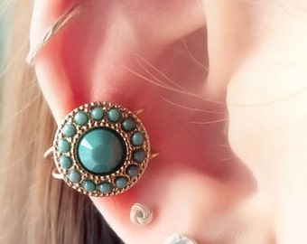 Turquoise Gold Circular Goddess Ear Cuff