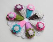Felt flower hairclips, girl hair accessories, set of 2 hairclips