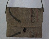 Upcycled  Lined Coffee Burlap Bag Purse.