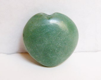 Green Aventurine Puffy Heart natural gemstone large focal pendant bead 36x37mm 7932CL