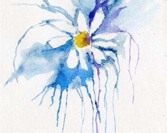 Abstract flower original watercolour painting