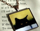 SALE 20 OFF Cat Pendant Necklace - art pendant - black cat