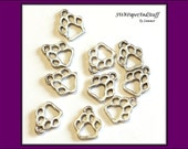 10 Paw Print Silver Metal Charms - wildcat paws - school pride charms - set of 10 - Jewelry Supply - Craft Supplies