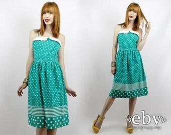 Vintage 80s Green and White Polka Dot Dress XS S Polka Dot Dress Green Dress Vintage Sundress Polka Dot Sundress Pinup Dress Day Dress
