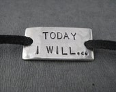 TODAY I WILL Wrap Bracelet  - Inspirational Motivational Jewelry - Nickel Silver Pendant on 3 feet of Micro Fiber Suede - Running Shoe Plate