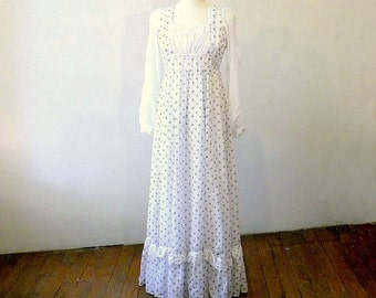 Vintage Gunne Sax Floral Dress / Gorgeous Perfect Condition Cotton / Festival Ren Faire Dress / Small