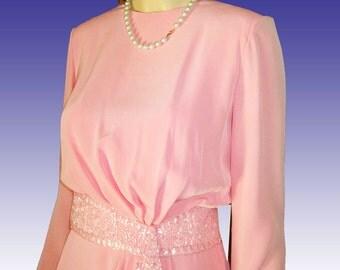 Vntg OEG CASSINI Drape Skirt Blouson Dress Beaded UNWORN Pink Bust 36