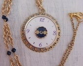 Golden Watch Face Necklace (vintage repurposed, steampunk fashion, gift for her, steampunk bride, bridal fashion, OOAK)