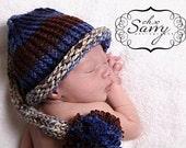 Baby Boy Elf Hat Newborn-Blue Brown and Grey