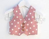 Waistcoat pink toddler wedding vest spotty boys formal baby toddler page boy pale pink white polka dot grey