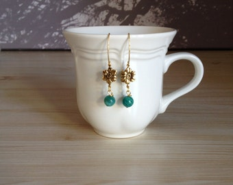 Gorgeous Russian Amazonite Clematis Earrings