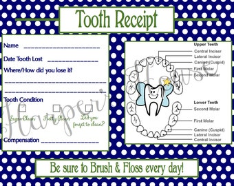 Tooth Fairy Receipt BOY Instant Download