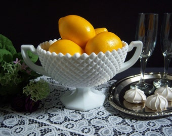 Westmoreland Hobnail Bowl - Large Milk Glass Bowl - English Hobnail Bowl - Milk Glass Loving Cup - Wedding Milk Glass - Centerpiece Bowl