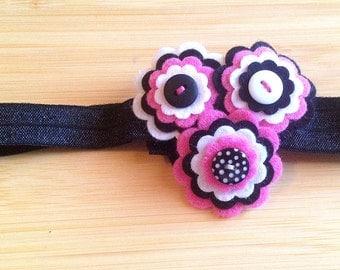 Pink and Black Felt Flowers Headband