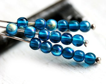 Indicolite Blue czech glass beads, AB finish, round spacers, druk - 4mm -  approx.85-90Pc - 2853