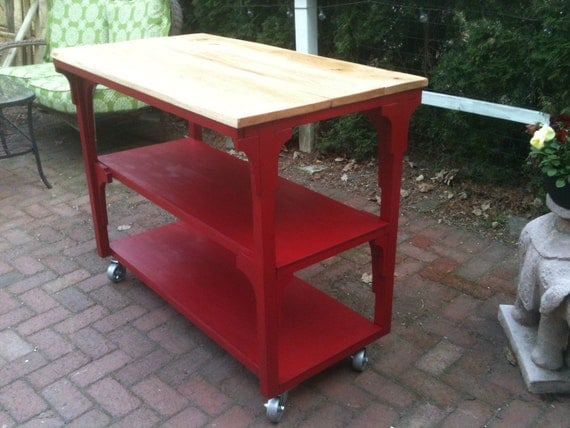 Items similar to red kitchen island with red oak top casters mobile
