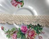 Reneabouquets Trim- Natural Cotton Crochet Cluny Lace 002, Vintage Lace, Wedding Trim, Sewing, Scrapbook, crafts
