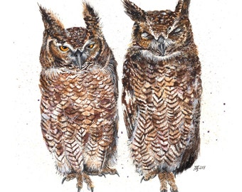 Mounted Limited Edition Giclee Print of  'Staler and Wardorf' Owls