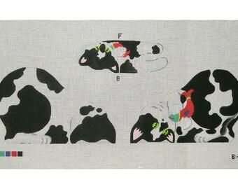 Needlepoint Cat Canvas - Tuxedo Kitten front, back and bottom