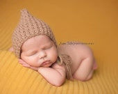Newborn Hat, Classic Bonnet, Newborn Bonnet, Brown Alpaca, Photo Prop