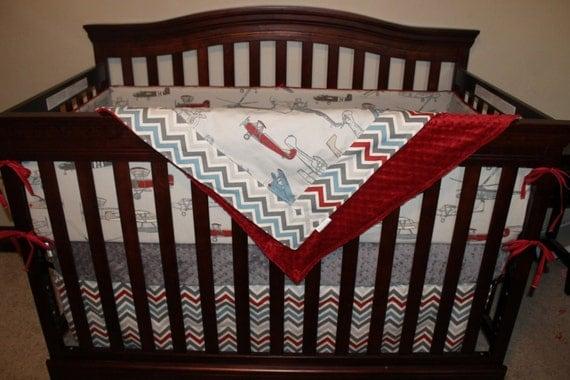 Baby Boy Crib Bedding Vintage Airplane Pewter Chevron And