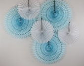Baby Shower Decorations 6 Tissue Paper Fan Wheels- White and Light Blue, baby showers, first birthday