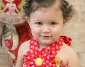 Strawberry Shortcake Dress Birthday Yellow and Red Polka Dot Fabric Flower Halter Dress 12 18 2 3 4 5 6 8