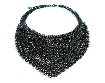 European 4 in 1 Chainmail Necklace - Black