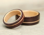 Bentwood Ring Set - East Indian Rosewood featuring Rock Maple Line and Inlay - And We Plant A Tree:)