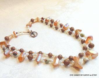 Quartz necklace, light orange necklace, copper necklace, crystal necklace, ocean jasper
