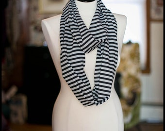 Infinity Scarf - Jersey Knit - Black & Grey