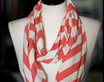 Infinity Scarf - Jersey Knit - Coral & Cream Chevron