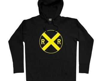 Railroad Crossing Hoodie - Men S M L XL 2x 3x - Railway Sign Hoody Sweatshirt - 4 Colors