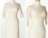 r e s e r v e d  // ALIX of MIAMI // vintage 1950s 1960s Sequin Lace Soutache Ivory Dress