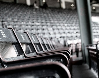 Rows of Field Box Seats, 100 Years, Historic Fenway Park, Empty Stadium, Boston Travel 8x12 10x15 12x18 16x24 Desaturated Photograph