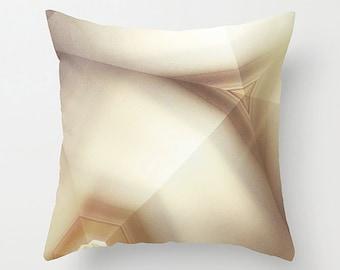 Cream to Taupe Geometric Decorative Pillow Cushion for Modern Minimal Decor