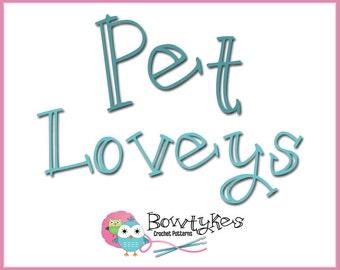 Pet Loveys Combo Pack (bunny, goldfish, dog, cat, mouse) - CROCHET PATTERN instant download - blankey, blankie, blanket
