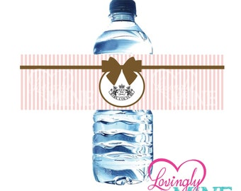 Juicy Couture Inspired Baby Couture Baby Shower Water Bottle Labels - Instant Download Printables