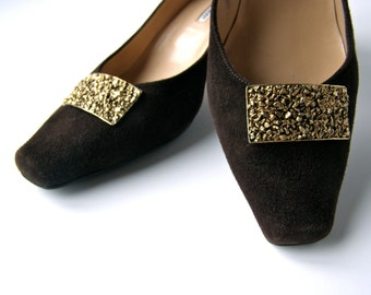 Musi Designed Gold Nugget Shoe Clips 1970s