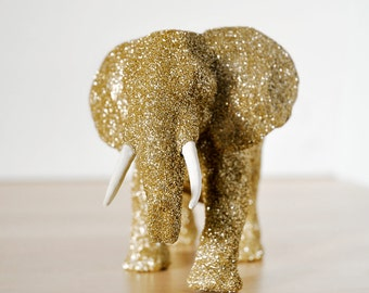 Mama African Elephant Safari Gold Glitter Critter for Jungle Baby Showers, Nursery Decor, Great for Wedding Decorations, Table Centerpieces