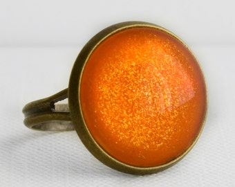 Pumpkin Patch Ring in Antique Bronze - Orange and Yellow Glitter Cocktail Ring