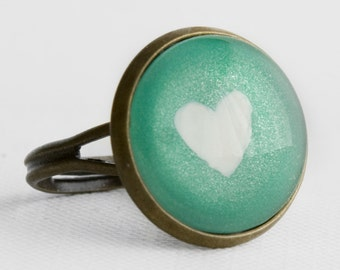 Mint Apple Heart Ring in Antique Bronze - Minty Green Cocktail Ring with Subtle Shimmer and a White Heart