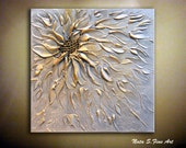 """Original Abstract Metallic Flower Painting.Palette Knife.Modern Textured Silver,Gold Painting.12"""" x 12"""" Modern Wall Decor.... by  Nata S."""