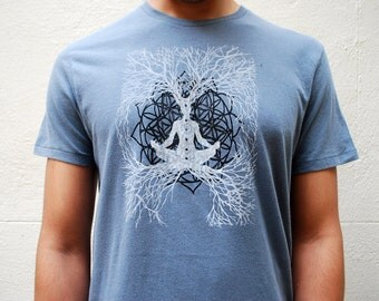 Medium Sacred Geometry shirt / Flower of life Meditation tee, Organic Cotton Mens t-shirt