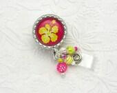 Summer Hibiscus Badge Reels - Designer ID Holders - Hibiscus Badge Clips - Summer ID Lanyards - Badge Reel Gifts - Pretty ID Holders