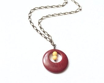 Tagua Nut Jewelry, Red Tagua Pendant Necklace, Round Pendant, Brass Jewelry