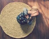 Crochet Rug Sunshine Yellow Cotton Round Rug