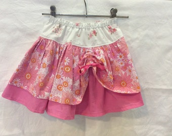 Pink and white princess skirt, double layer twirl skirt, upcycled kids clothing, girls size 3 READY TO SHIP, eco friendly toddler clothes