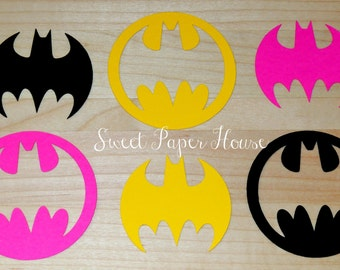 50 Batman Die Cuts - 3 Inch - Black, Hot Pink, Yellow (Cardstock, Super Hero, Superhero, Baby Shower, Batman & Robin, Batman Wedding, Girl)