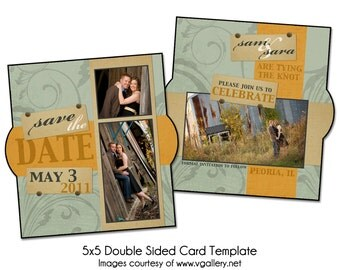 """VINTAGE SWIRL - 5x5"""" Double Sided Save The Date Card Template, Digital File"""